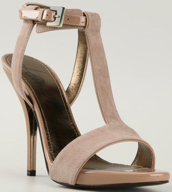 Lanvin shoes with open toes, ankle straps with a side buckle fastening, brand embossed insoles and mid high stiletto heels