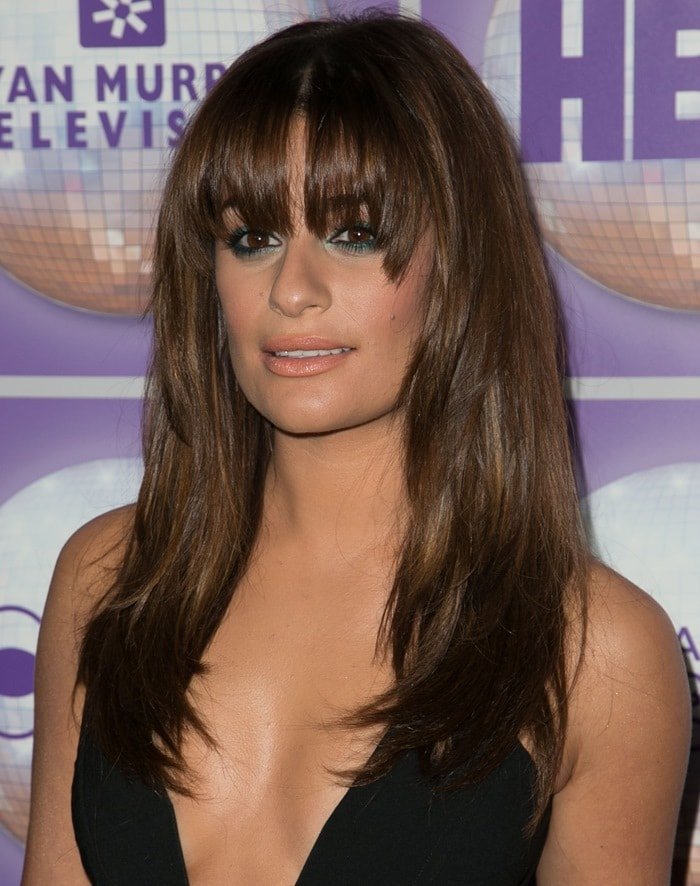 Lea Michele's sexy jumpsuit features a plunging neckline