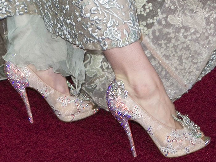 Lily James Christian Louboutin Cinderella shoes