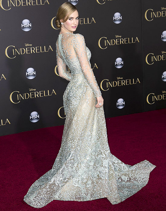 Lily James showing off the back of her Elie Saab Fall 2014 couture gown