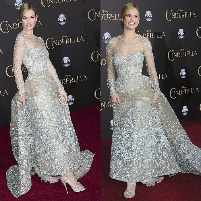 Lily James modeling the Christian Louboutin and Disney Cinderella shoes