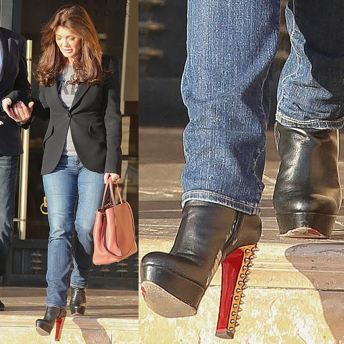 Lisa Vanderpump wearing Christian Louboutin booties with scuff marks