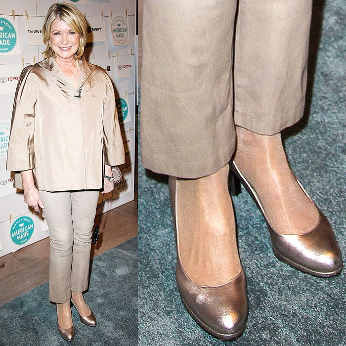 Martha Stewart wearing metallic Christian Louboutin pumps with the soles painted black