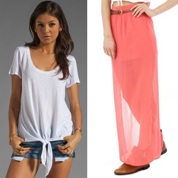 Michael Stars Short Sleeve Scoop Neck With Tie Hem and A Wear Coral Chiffon Belted Maxi Skirt