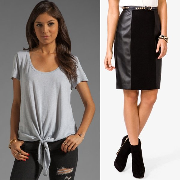 Michael Stars Short Sleeve Scoop Neck With Tie Hem and Forever 21 Paneled Faux Leather Skirt