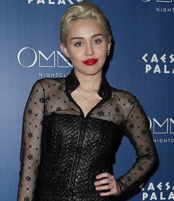 Miley Cyrus in a glamorous rock-n-roll dress