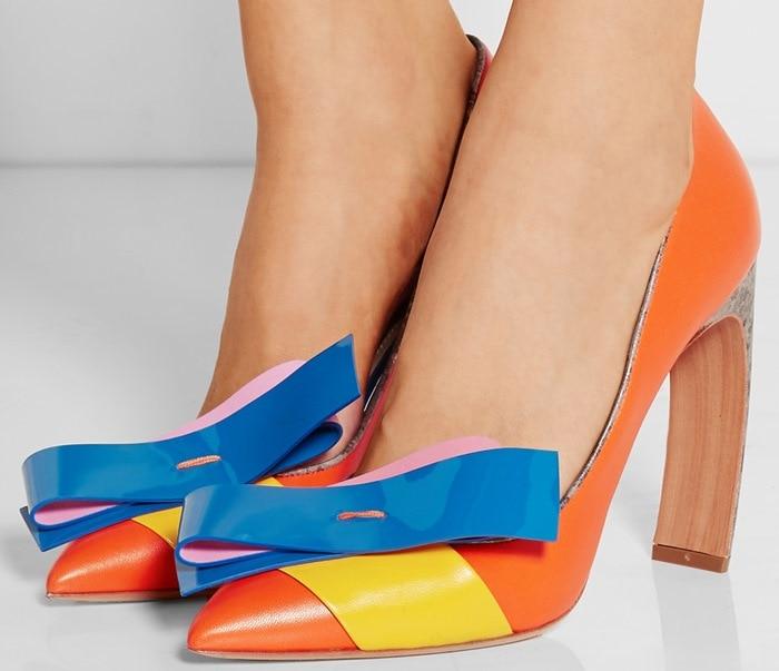 Nicholas Kirkwood Orange Roksanda Ilincic Bow-Embellished Leather Pumps