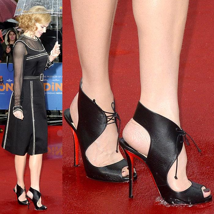 Nicole Kidman Louboutin in rain puddle