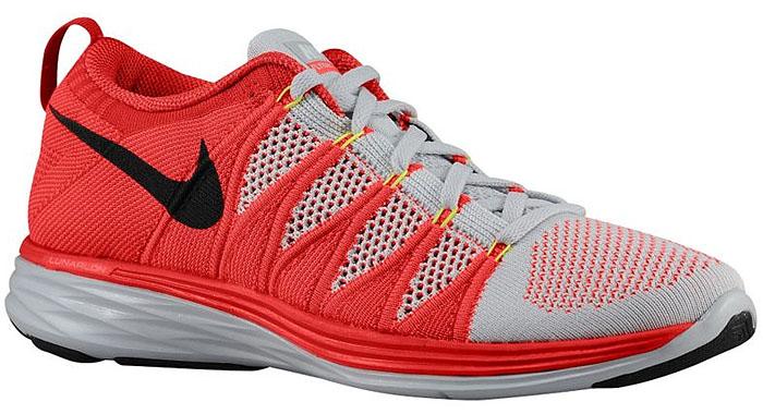 "Nike Men's ""Flyknit Lunar 2"" Sneakers in Pure Platinum/Bright Crimson/University Red/Black"