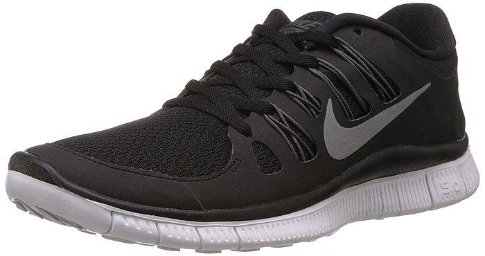 "Nike ""Free 5.0"" Sneakers in Black/Metallic Silver/Dark Gray/White"