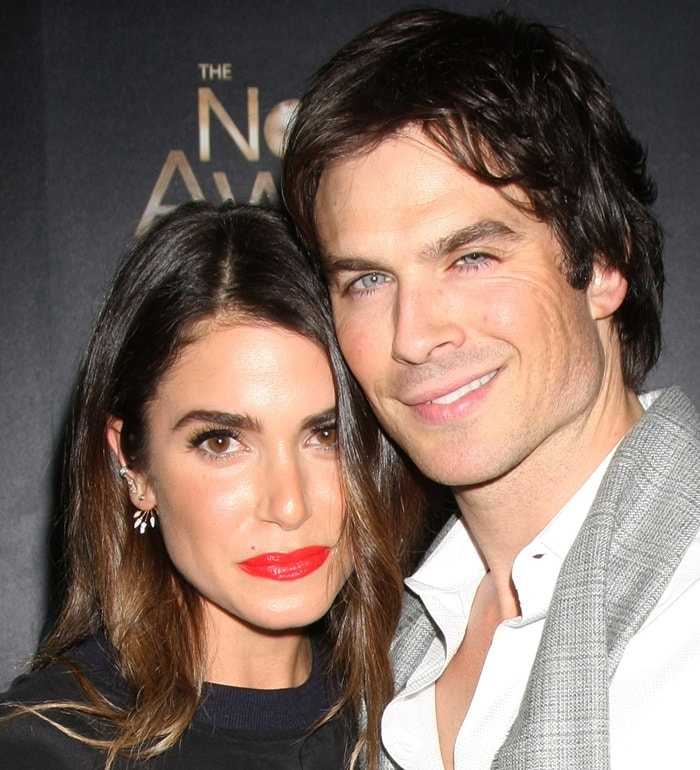 Nikki Reed and fiancé Ian Somerhalder pose for photos in Beverly Hills
