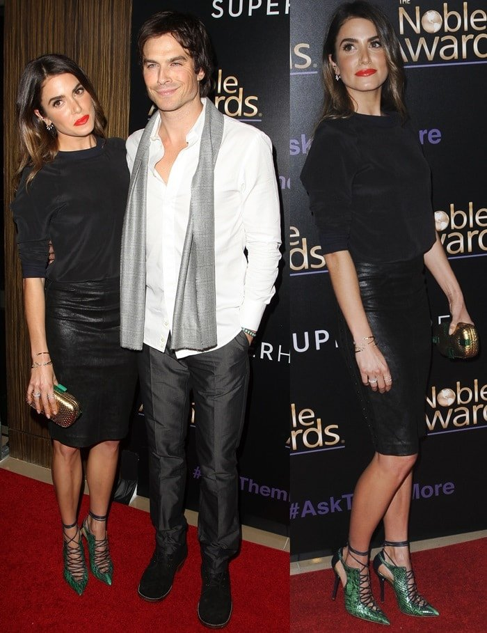 Nikki Reed and Ian Somerhalder coordinate with matching monochromatic looks on the red carpet