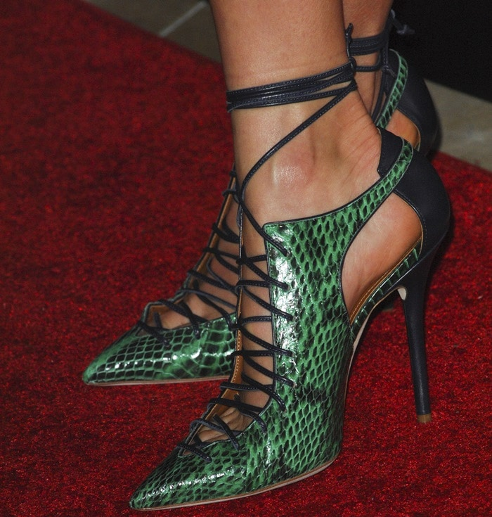 Nikki Reed's feet in green Malone Souliers lace-up pumps