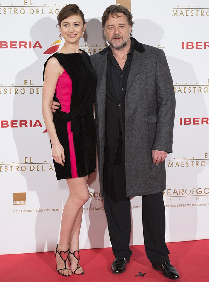 Olga Kurylenko and Russell Crowe at the premiere of The Water Diviner at Callao Cinema in Madrid, Spain, on March 26, 2015