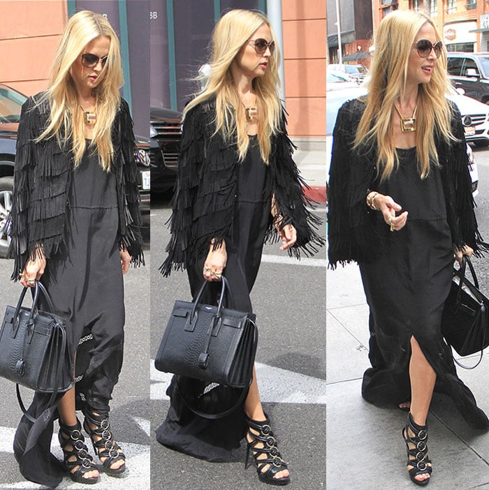 Rachel Zoe channeling Jane Birkin while shopping in Beverly Hills on March 16, 2105