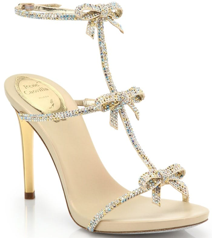 Rene Caovilla Gold Strass Swarovski Crystal Bow Sandals