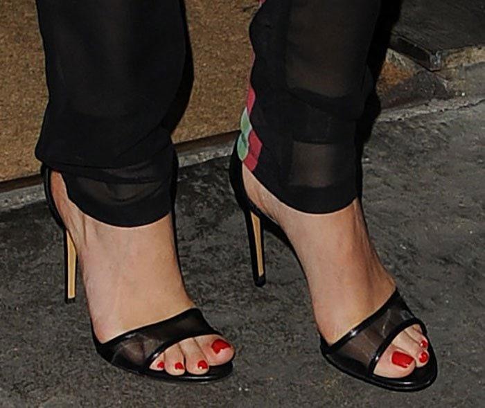 Rita Ora showed off her feet in high-heeled sandals