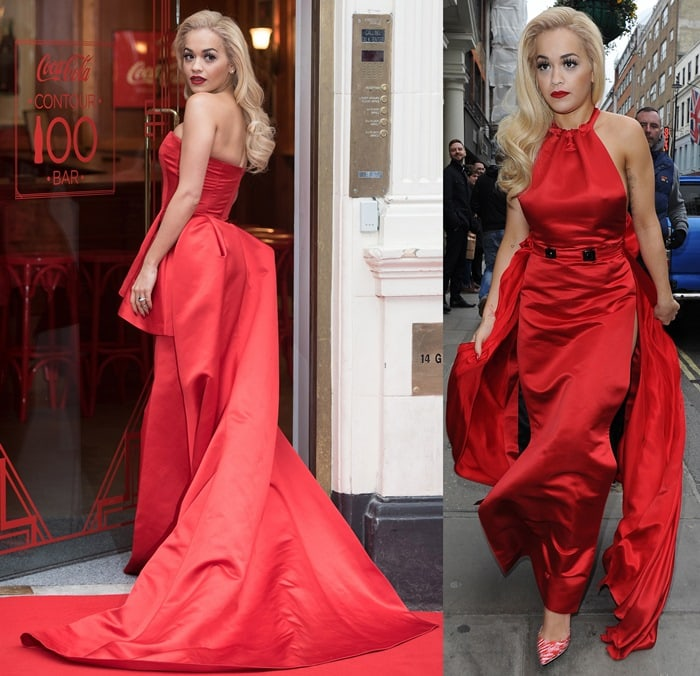 Rita Ora's red dress features a flowing train