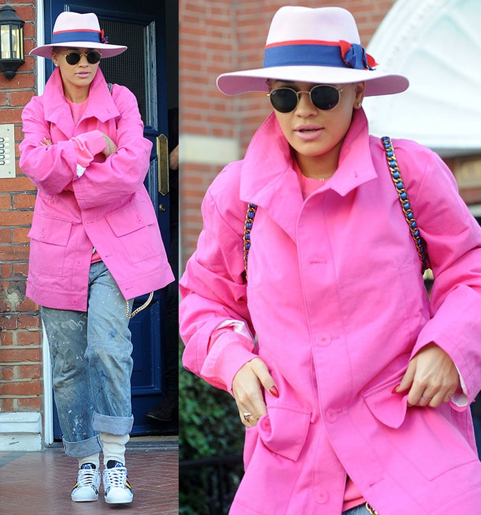 Rita Ora leaving her home in West London for an appearance on the TV show Alan Carr: Chatty Man on March 18, 2015