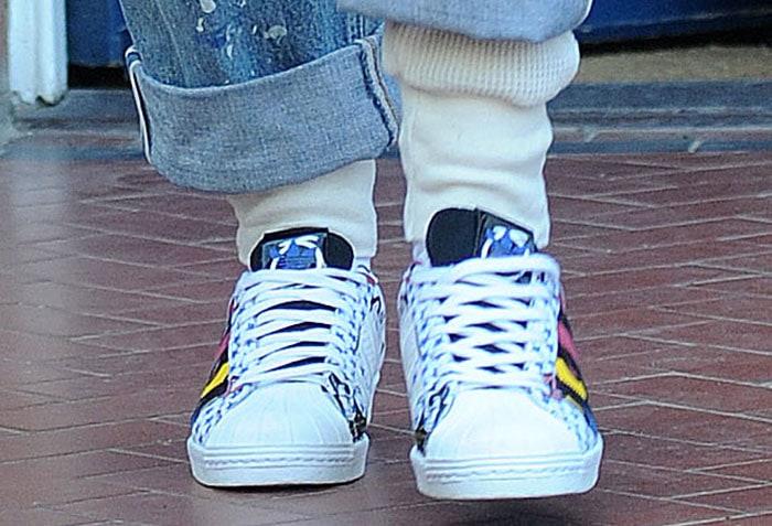 "Rita Ora wearing the adidas ""Superstar 80"" sneakers"