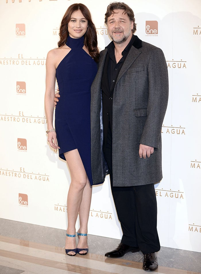 Olga Kurylenko and Russell Crowe at a photo call for their film, 'The Water Diviner', held at Villamagna Hotel in Madrid