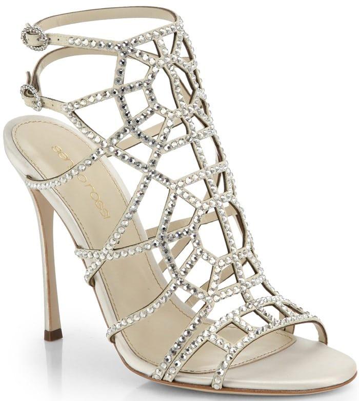 Sergio Rossi White Puzzle Swarovski Crystal Sandals