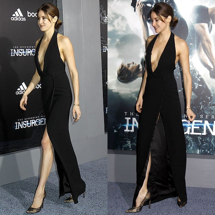 Shailene Woodley's Stuart Weitzman lace-covered pumps showing through the dangerously high slit of her dress