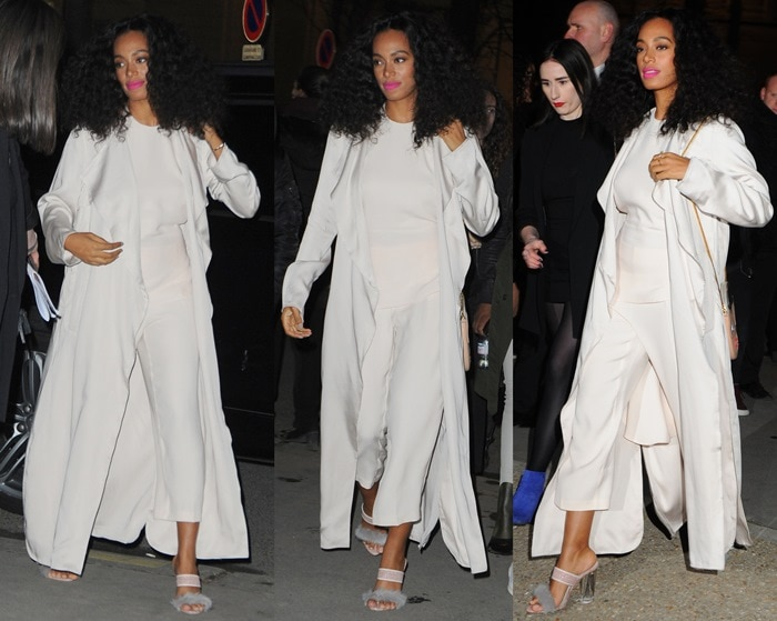 Solange Knowles wearing a neutral two-piece outfit from H&M