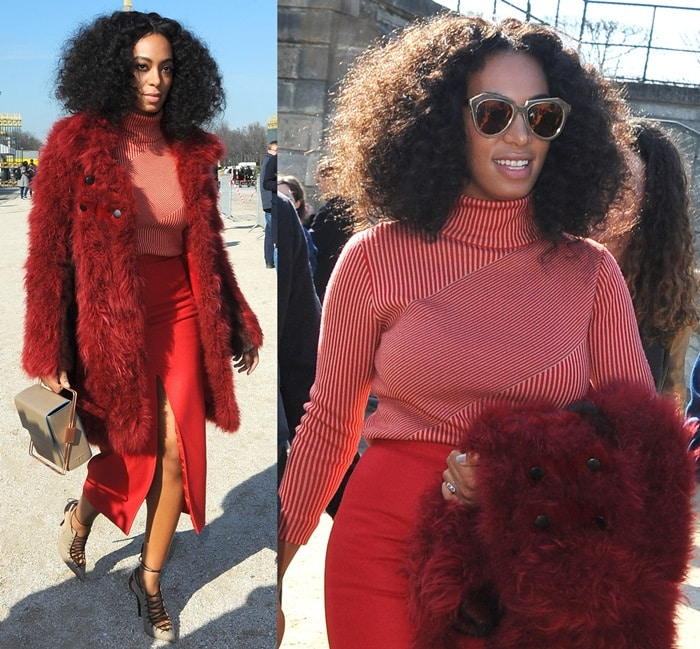 Solange Knowles shows off her natural hair at the Carven fashion show held March 5, 2015 during Paris Fashion Week Womenswear Fall/Winter 2015/2016