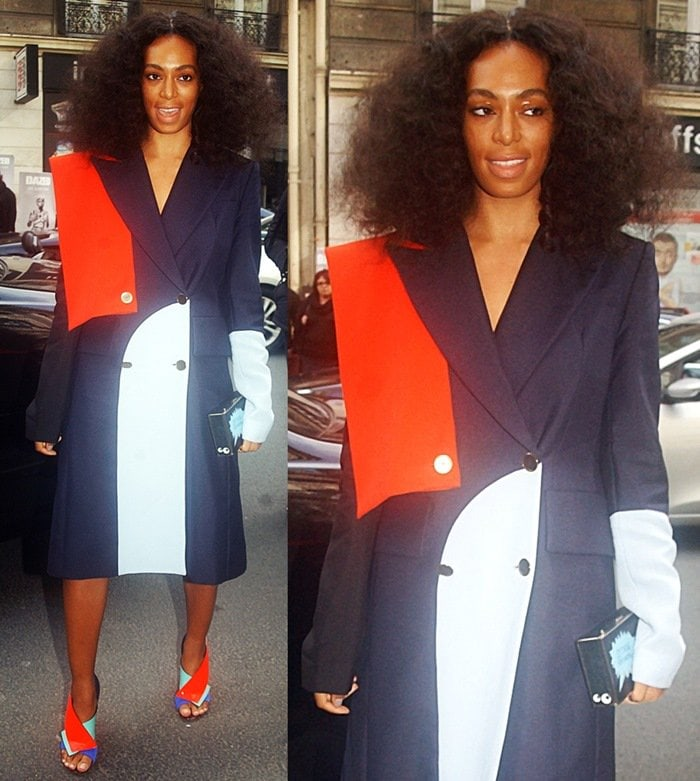 Solange Knowles flashed her legs in a color-block coat from the Harbison