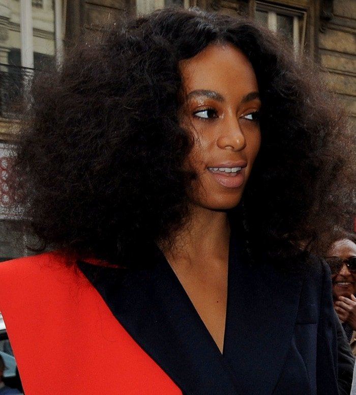 Solange Knowles attends the Vivienne Westwood Fall 2015 show during Paris Fashion Week in Paris on March 7, 2015