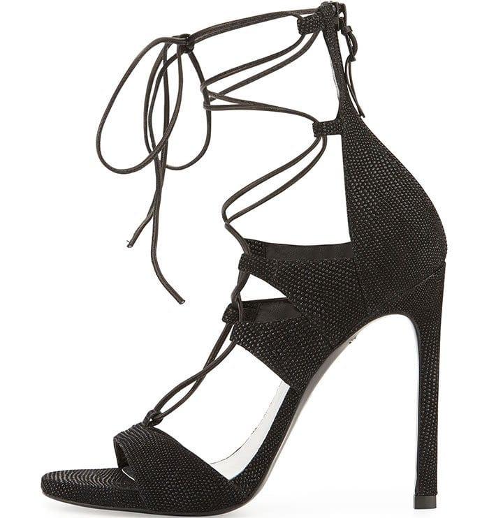 Stuart Weitzman LegWrap Lace-Up Sandals in Black