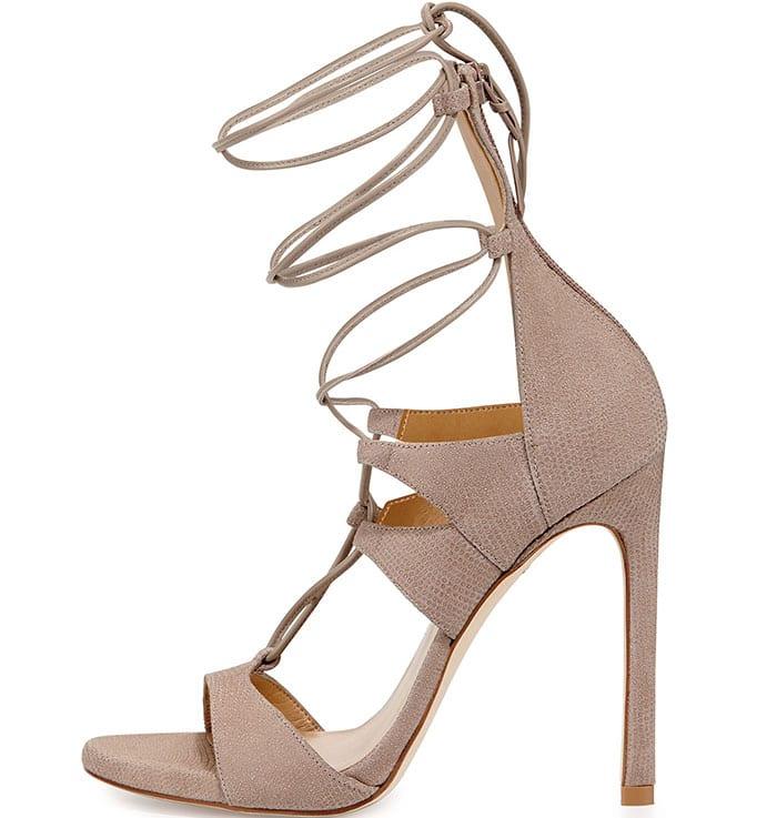 Stuart Weitzman LegWrap Lace-Up Sandals in Fawn