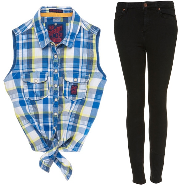 Superdry Trailer Tie Shirt and Topshop Moto Worn Black High Waist Jamie Jeans
