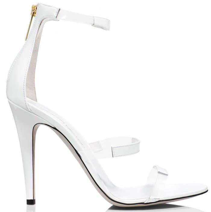 Tamara Mellon White Frontline Patent 105Mm Sandals
