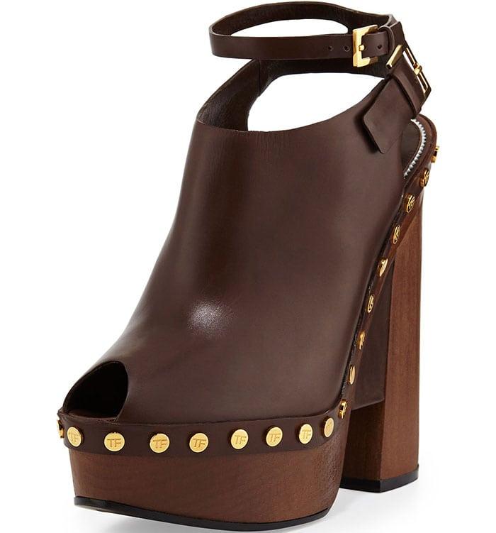 Tom Ford Calfskin Platform Clog Sandals