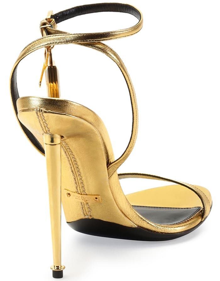 Tom Ford Metallic Ankle-Lock Sandals