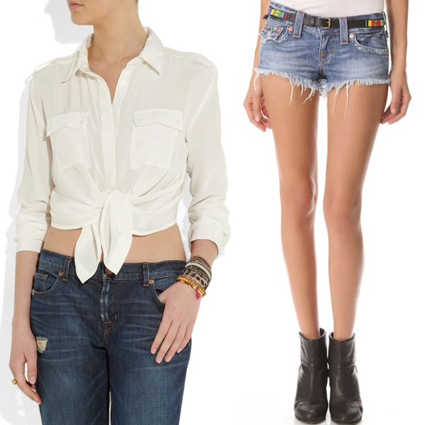 Maje Aoutien Tie-Front Cropped Silk Shirt and True Religion Joey Cut-Off Denim Shorts