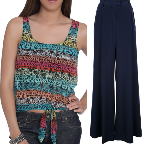 Wet Seal Aztec Tie Front Tank and Agnona Wide Flared Trouser