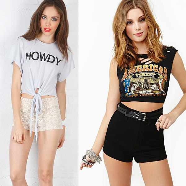 Wildfox Howdy Cowgirl Tee in Ghost Blue and Knockout Shorts