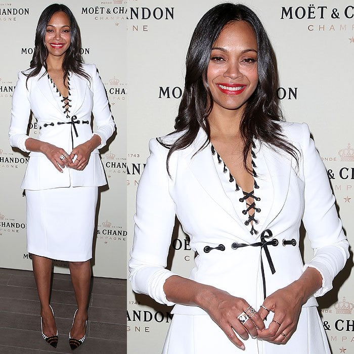 Zoe Saldana at the Moet & Chandon celebration of Roger Federer's 1,000th career match win held at the Four Seasons Hotel in Beverly Hills, California, on March 7, 2015