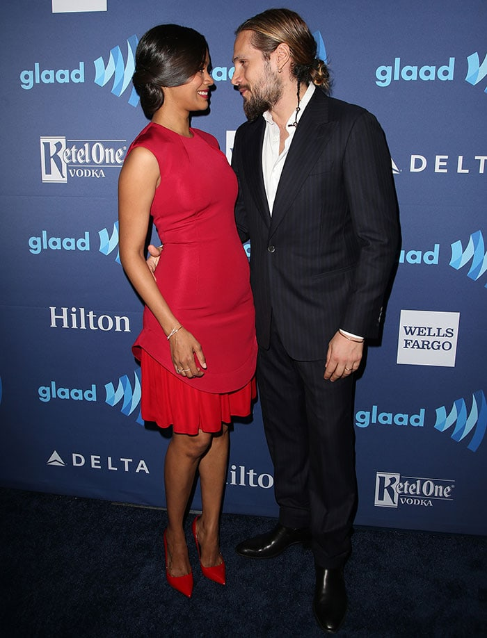 Zoe Saldana and husband Marco Perego at the 26th Annual GLAAD Media Awards at The Beverly Hilton in Los Angeles on March 21, 2015
