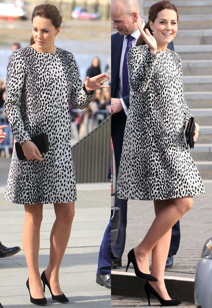 Kate Middleton in a Hobbs London Dalmatian-print coat