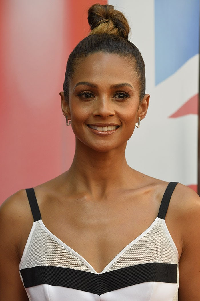 Alesha Dixon's slicked-back top knot and flawless bronzed makeup