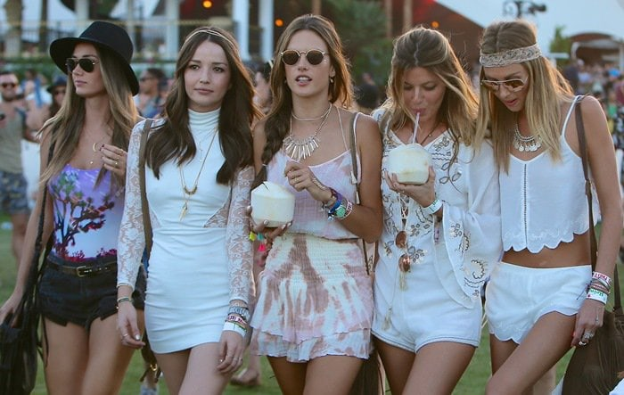 Alessandra Ambrosio and model friends on the third day of the 2015 Coachella Music Festival