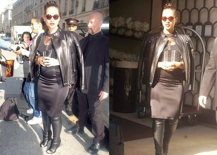 Alicia Keys leaving the Mandarin Oriental Hotel in Paris on April 14, 2015