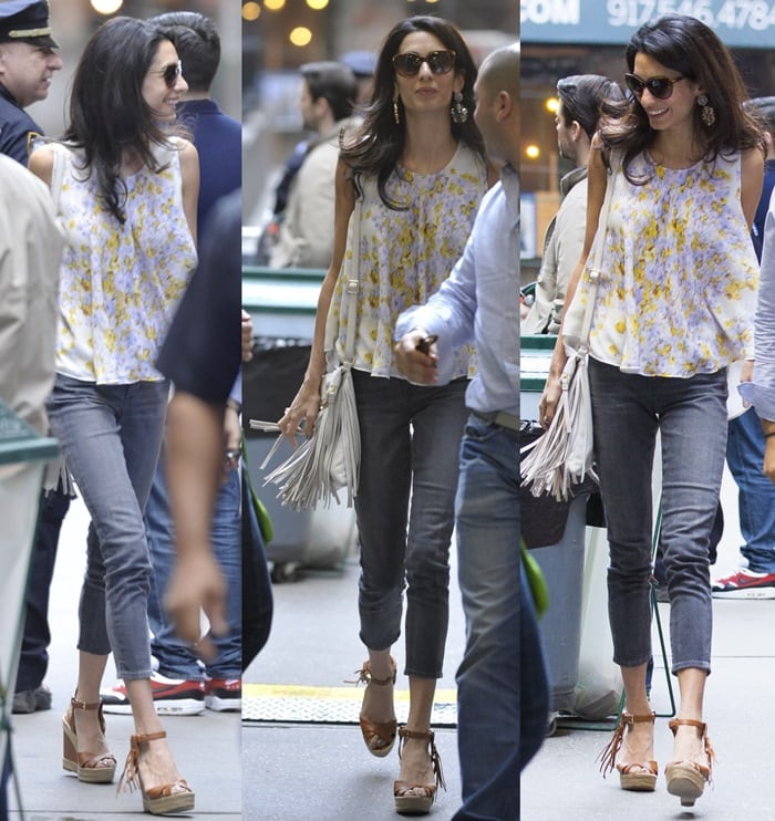 Amal Clooney in Gorgeous Valentino Fringe-Trim Wedge Sandals