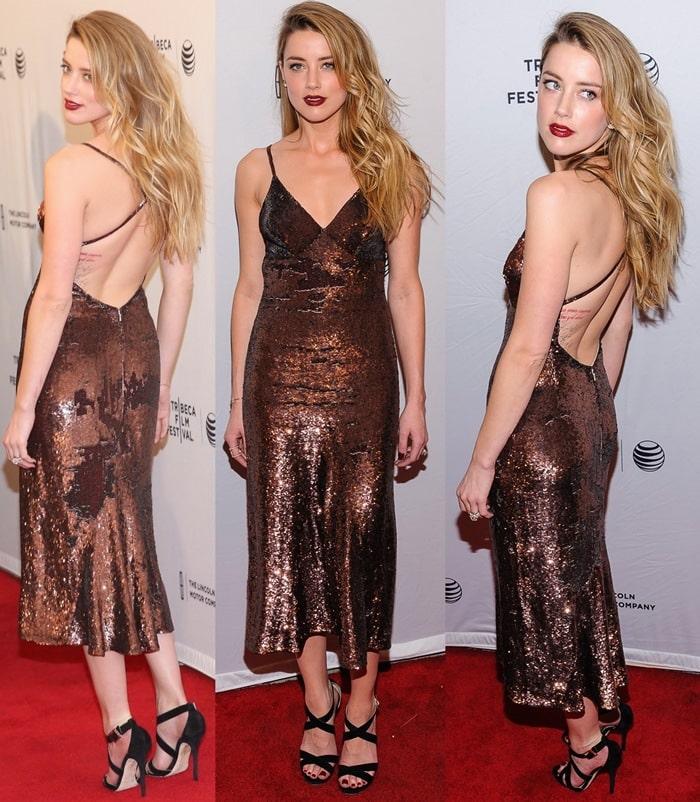 Amber Heard flashed her legs in Jimmy Choo's Lottie heels