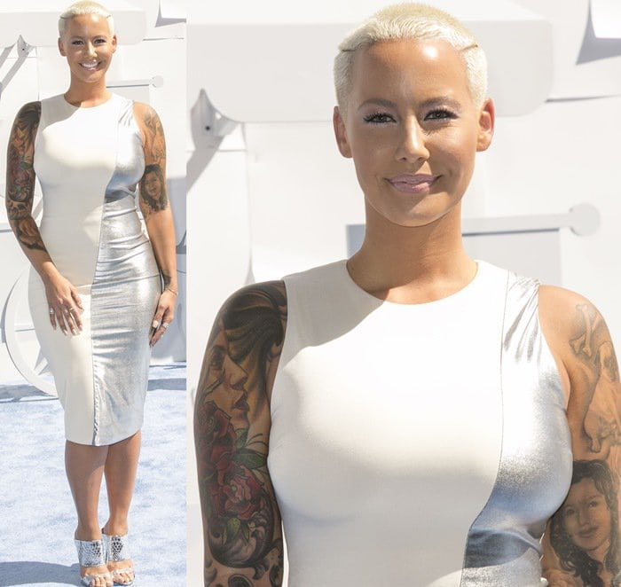 Amber Rose in a silver metallic dress at the 2015 MTV Movie Awards