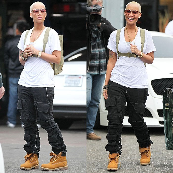 Amber Rose wearing Timberland boots